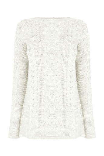 Oasis, CABLE KNIT JUMPER Pale Grey 0
