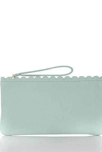 Oasis, LEATHER SCALLOP PURSE Pale Green 0