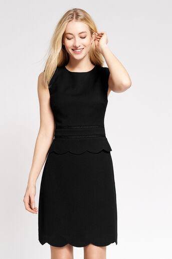 Oasis, SCALLOP SHIFT DRESS Black 1