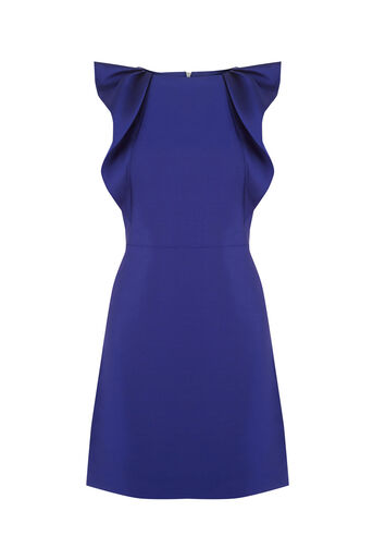 Oasis, TWILL SATIN RUFFLE SHIFT Cobalt Blue 0