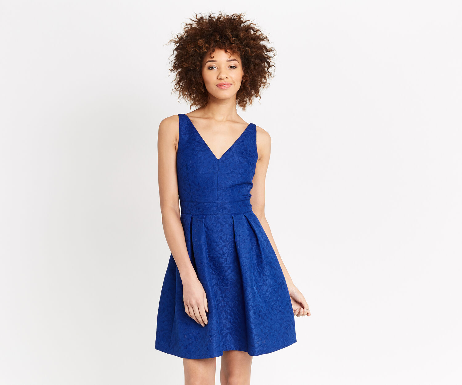 Oasis, JACQUARD V NECK SKATER DRESS Cobalt Blue 1