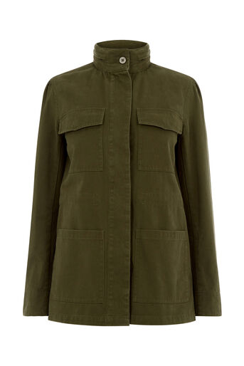 Oasis, FUR LINED MILITARY JACKET Khaki 0