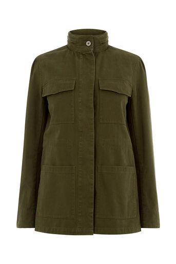 Oasis, FUR LINED MILITARY JACKET Khaki 0