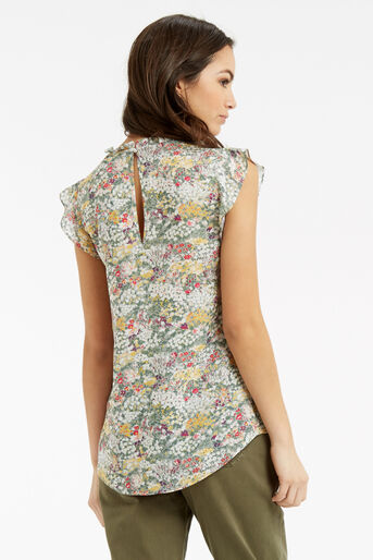Oasis, Ditsy Frill Top Multi Grey 3