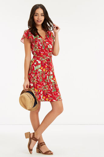 Oasis, SMALL PARADISE RUFFLE DRESS Mid Red 2