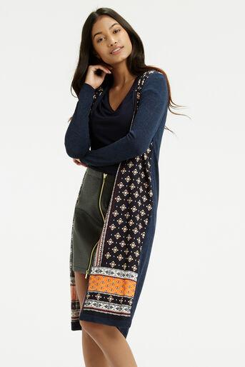Oasis, Naomi Wovenfront Cardi Multi Blue 1
