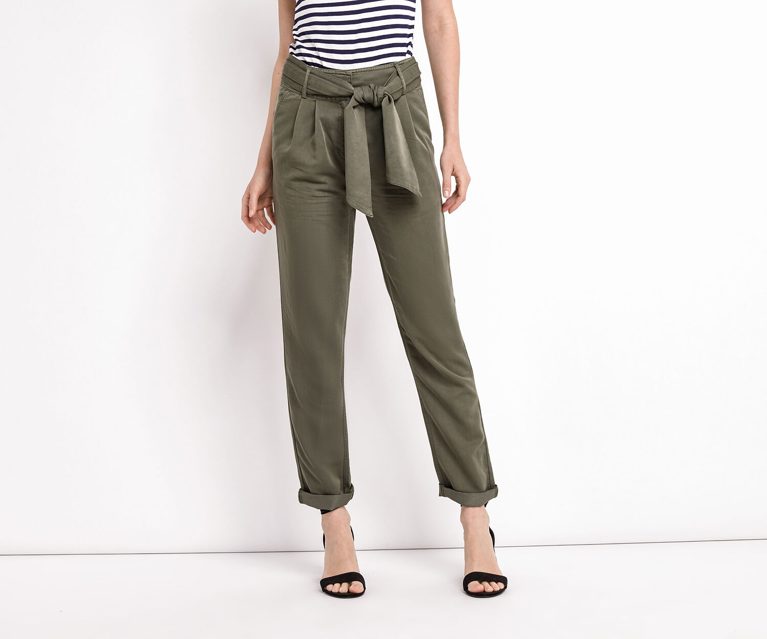 Oasis, TIE BELT TROUSERS Khaki 1