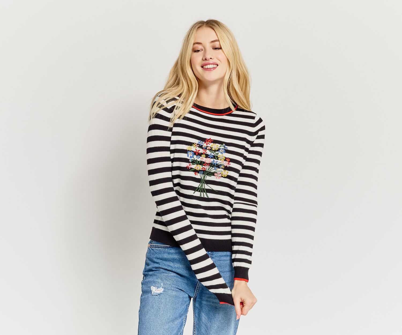 Oasis, Embroidered stripe jumper Multi Black 1