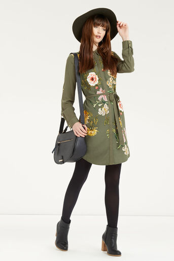 Oasis, Floral Print Shirt Dress Multi Green 2