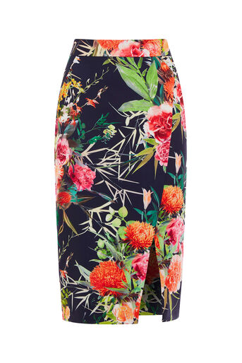 Oasis, MIDNIGHT CITRUS PENCIL SKIRT Multi Blue 0