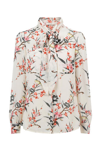 Oasis, FAR EASTERN PUSSY BOW BLOUSE Multi Natural 0