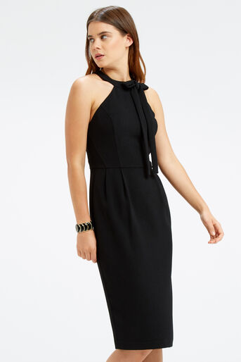 Oasis, BOW NECK DRESS Black 1