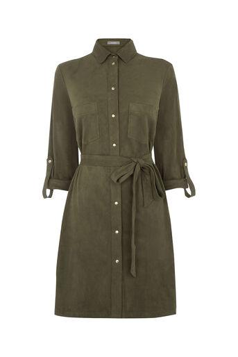 Oasis, Suedette Shirt Dress Khaki 0
