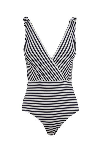 Oasis, Metallic stripe swimsuit Navy 0