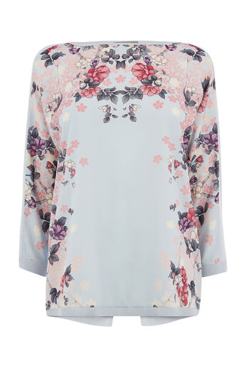 Oasis, KIMONO MIRROR PLACEMENT TOP Mid Grey 0