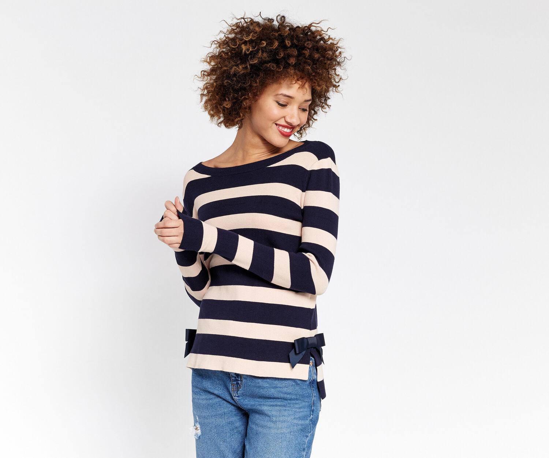 Oasis, Bow Hem Stripe Knit Navy 1