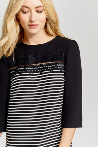 Oasis, STRIPE LACE TOP Black and White 4