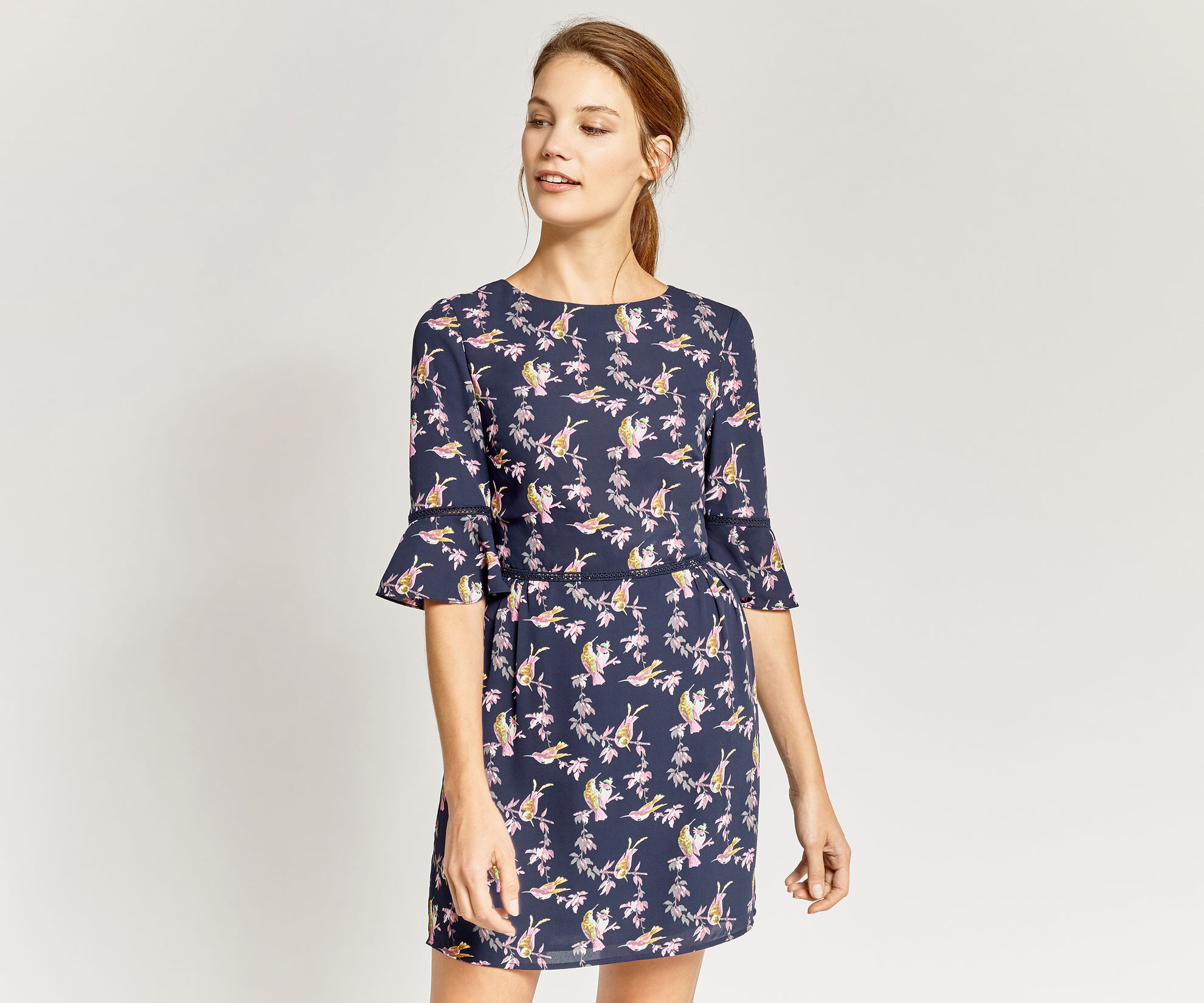 Oasis, LOTUS BIRD DRESS Multi Blue 1