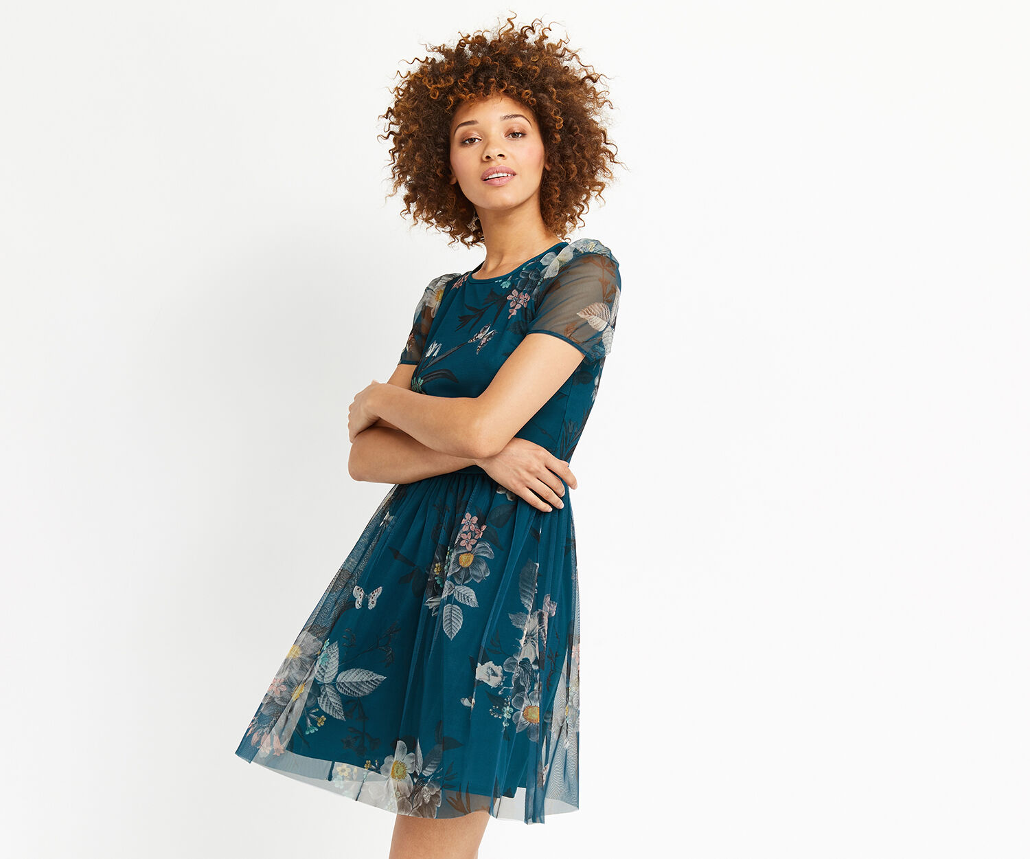 Oasis, MARIE MESH DRESS Turquoise 1