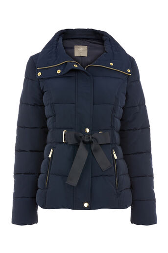 Oasis, RIBBON TIE SHORT PADDED JACKET Navy 0