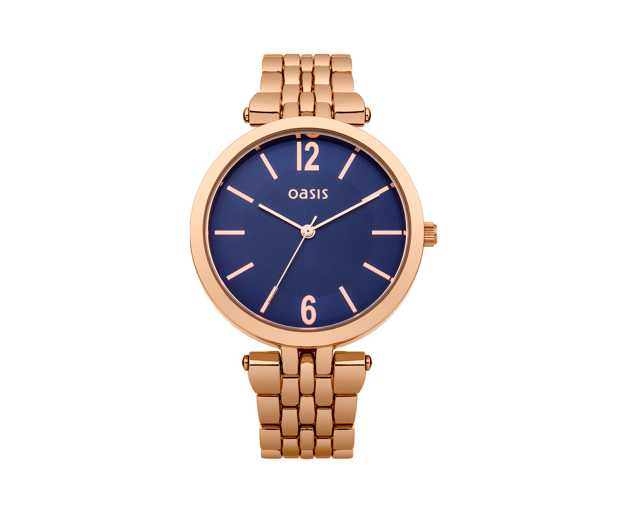 Oasis, Rose Gold Blue Dial Watch Antique Gold 0