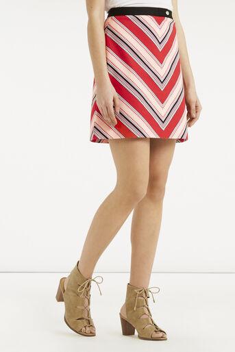 Oasis, Chevron Diamond Stripe Skirt Multi Red 1