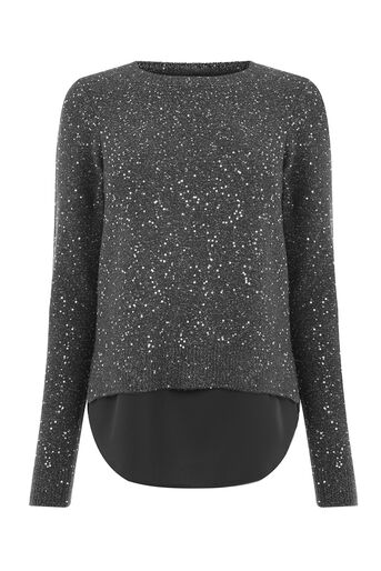 Oasis, PETAL BACK SEQUIN TOP Mid Grey 0