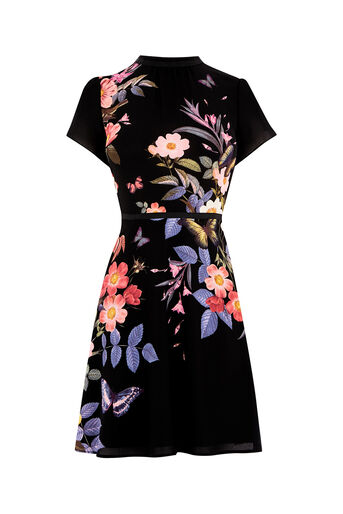 Oasis, FLORAL PLACEMENT SKATER DRESS Multi Black 0