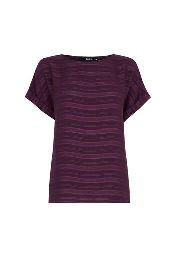 Oasis, Self Stripe Roll Sleeve T-Shir Mid Purple 0