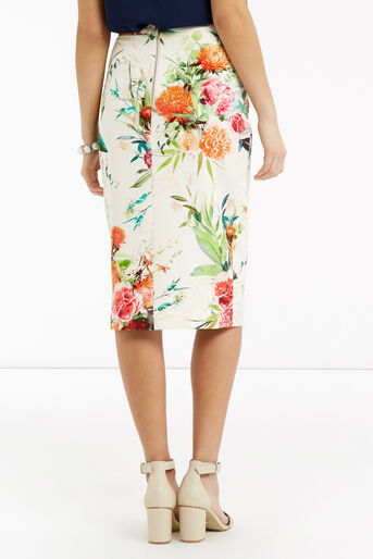 Oasis, Floral Pencil Skirt Multi Natural 3