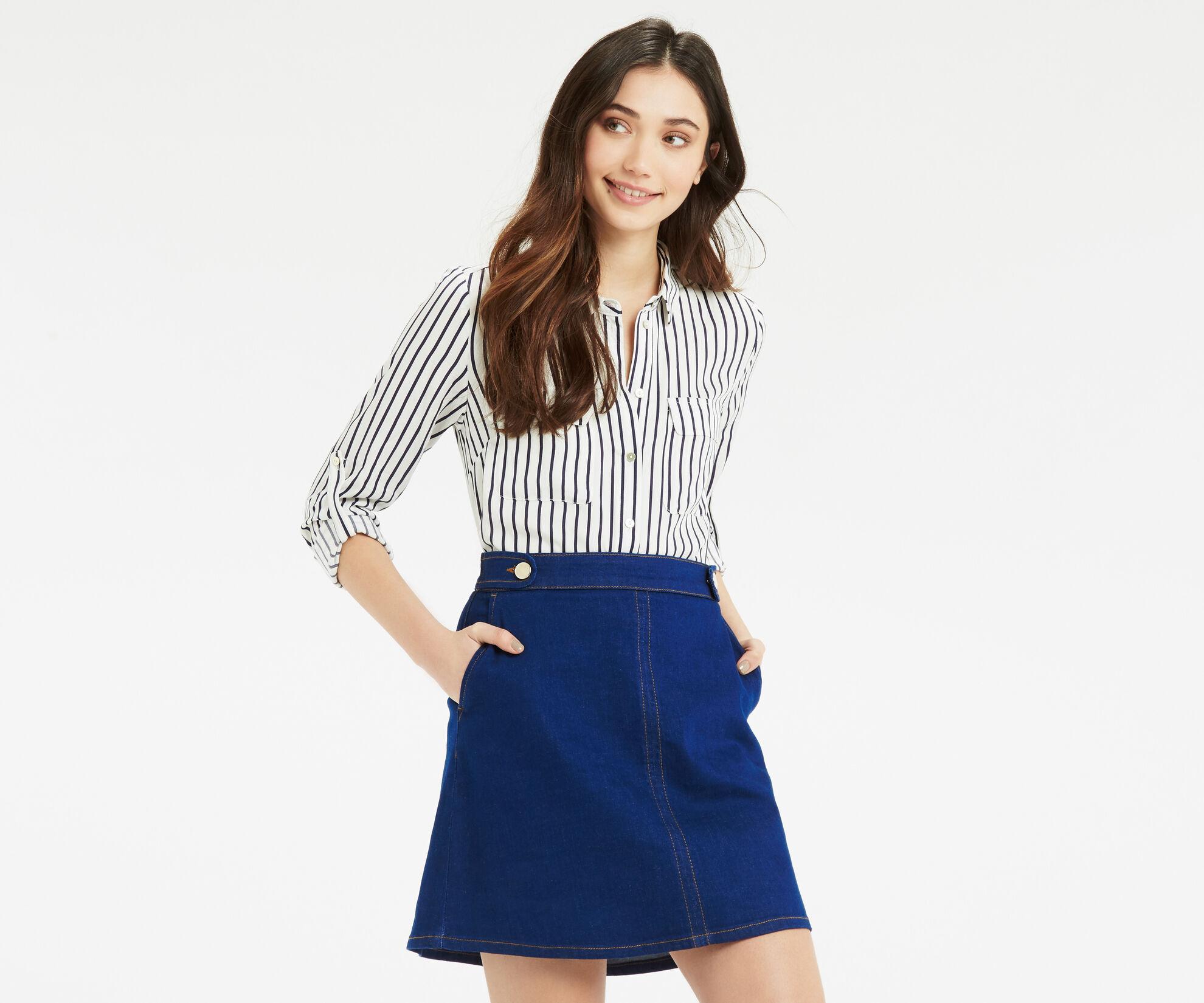 Oasis, Stripe Shirt Multi Blue 1