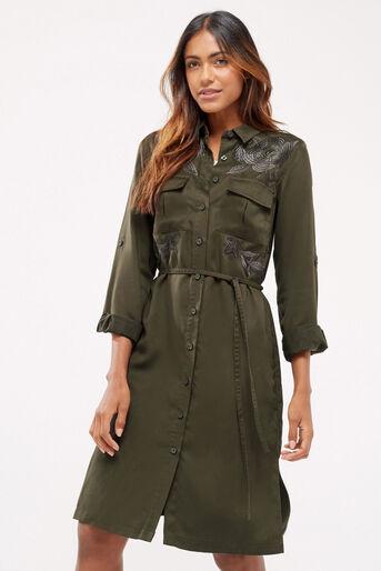 Oasis, Blossom emb utility dress Khaki 1