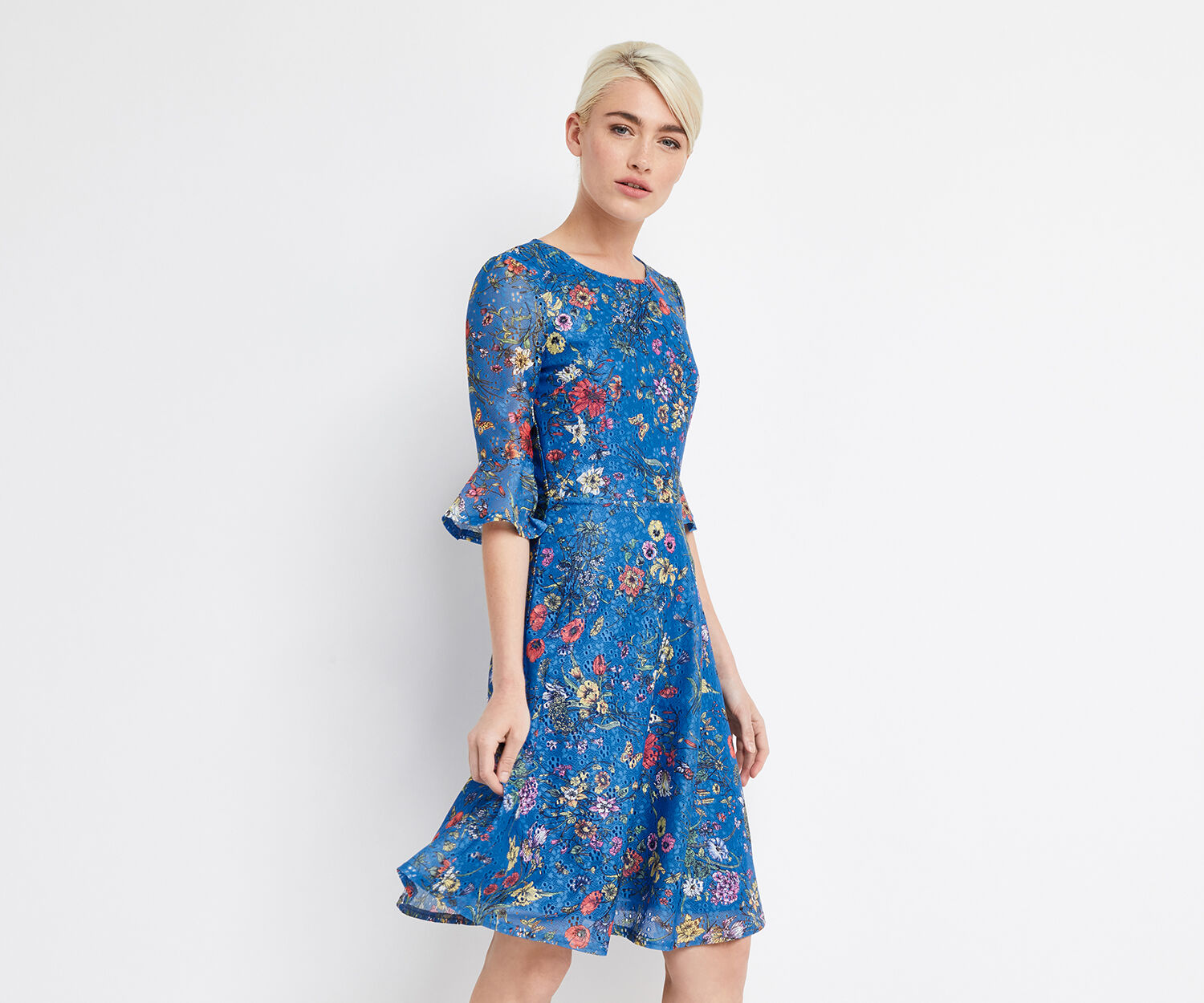Oasis, LONG AZELIA PRINTED DRESS Multi Blue 1