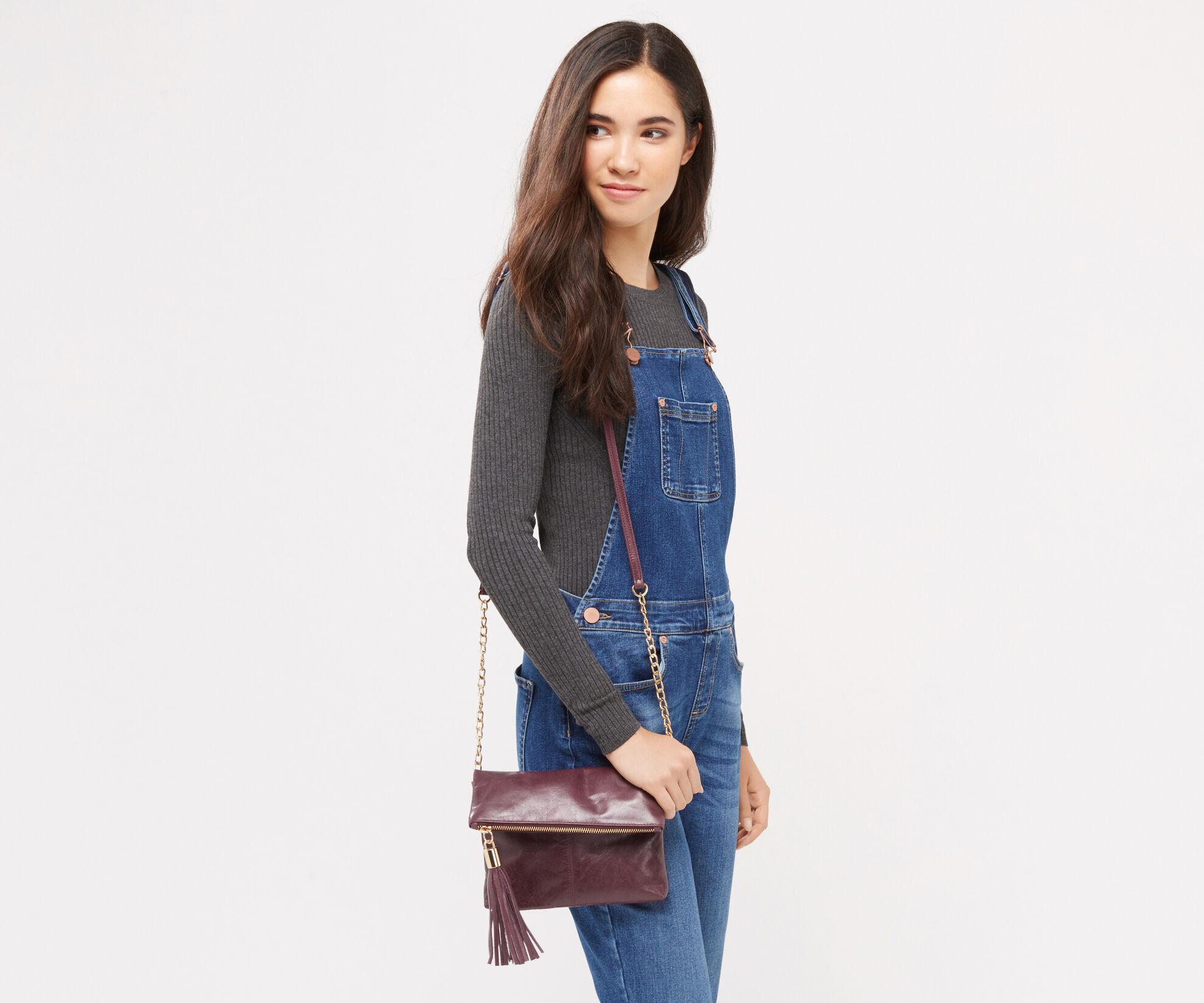 Oasis, Leather Ora Cross-Body Bag Burgundy 1