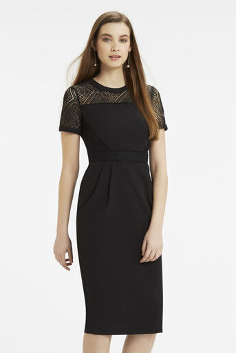 Oasis, Lace Trim Pencil Dress Black 1