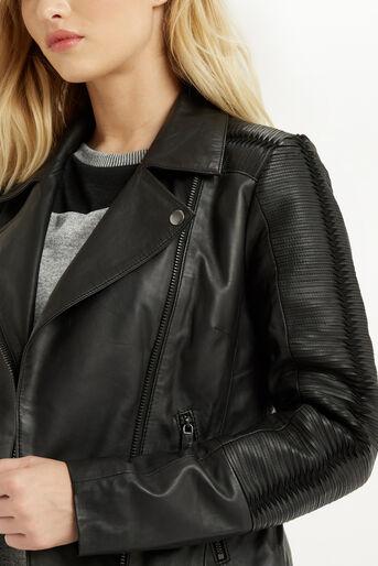 Oasis, Penny Leather Biker Jacket Black 4