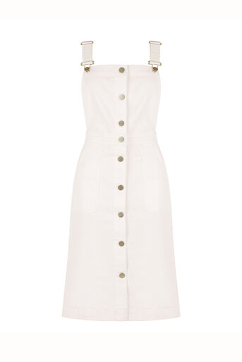Oasis, Brooklyn Dungaree Dress White 0