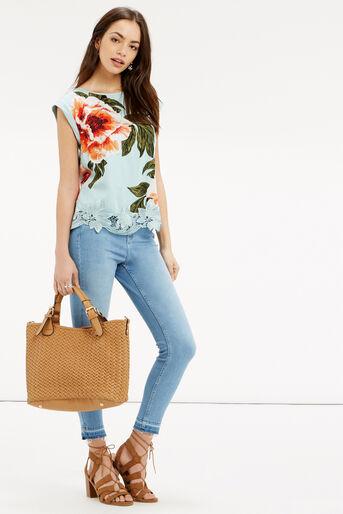 Oasis, Floral Lace Trim T-Shirt Turquoise 2