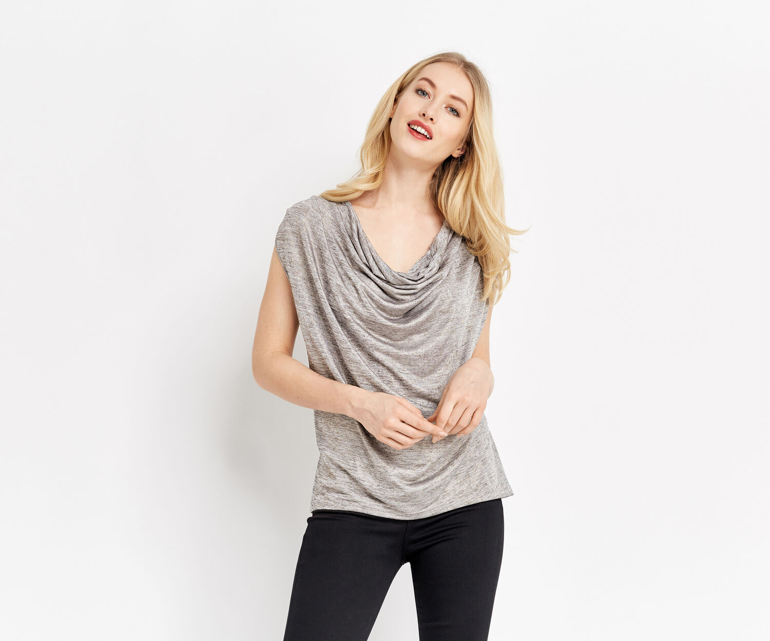Oasis, FOIL COWL NECK TOP Pale Grey 1