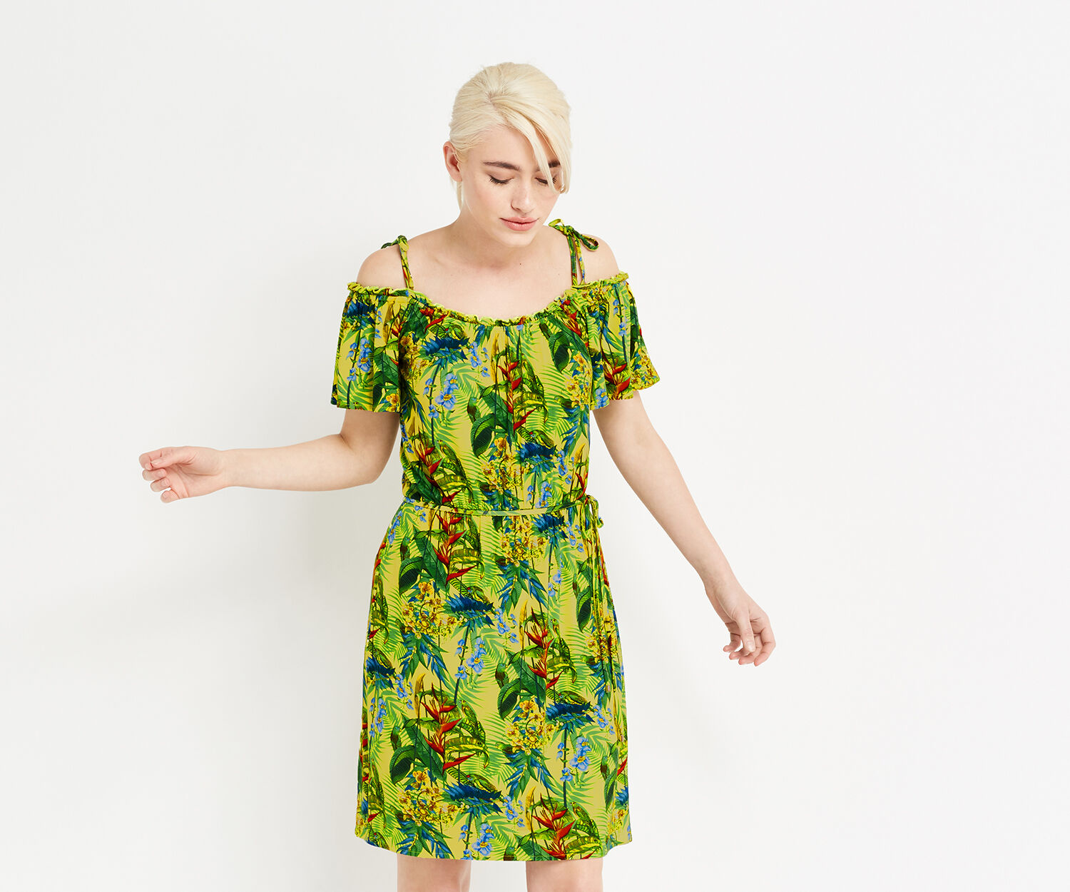 Oasis, TROPICAL PRINT CAMI DRESS Multi Yellow 1
