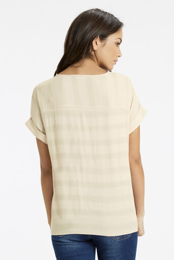 Oasis, Stripe Sheer Roll Sleeve T-Shi Stone 3