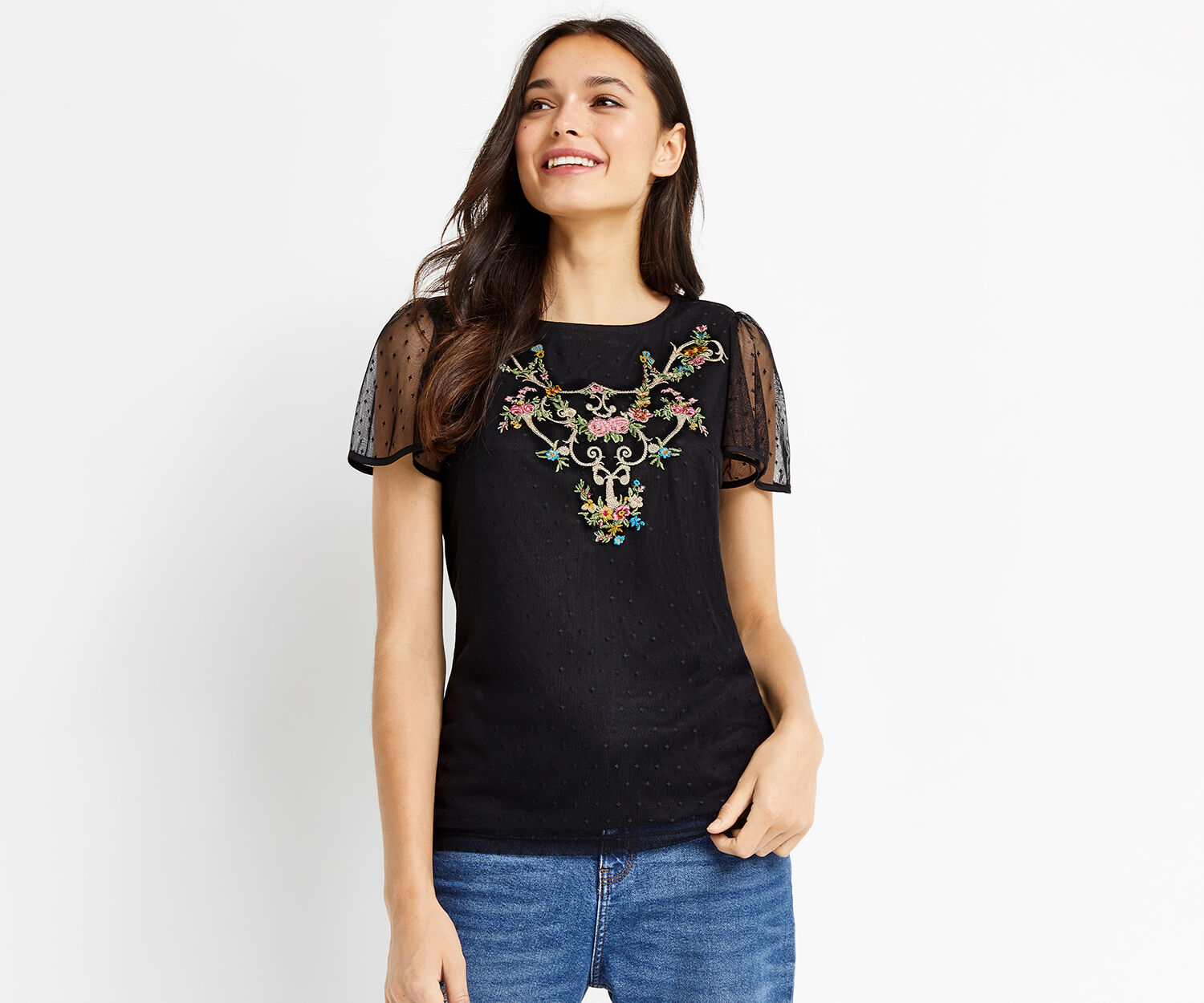 Oasis, EMBROIDERED FLUTE SLEEVE TOP Black 1