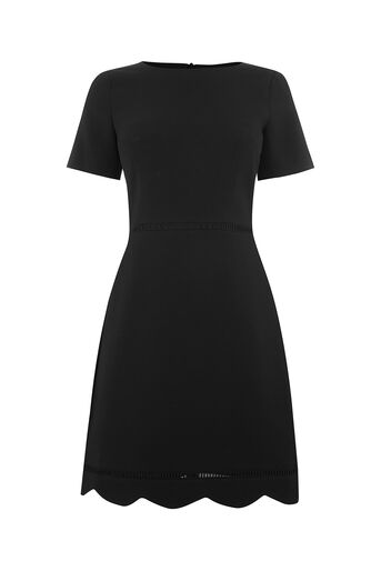 Oasis, SCALLOP SLEEVE DRESS Black 0