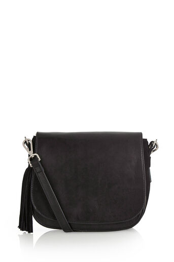 Oasis, Eda Leather Saddle Bag Black 0