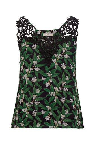 Oasis, V&A LACE CAMI Multi Black 0