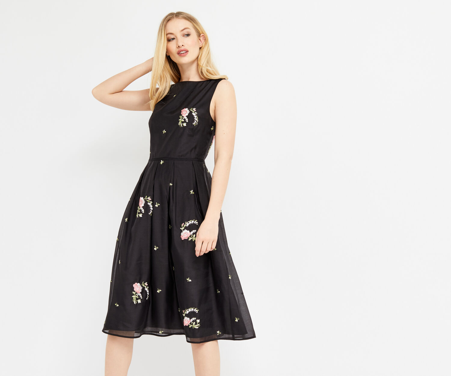 Oasis, SUMMER BLOOM EMBROIDERED DRESS Multi Black 1