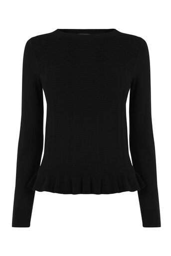 Oasis, Frill Knit Top Black 0