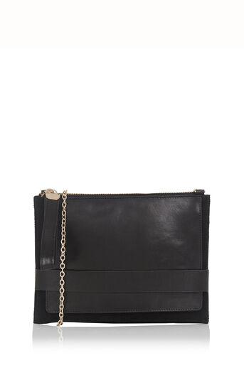 Oasis, Leather Cross-Body Clutch Black 0
