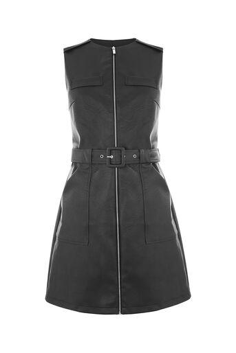 Oasis, FAUX LEATHER ZIP FRONT DRESS Black 0