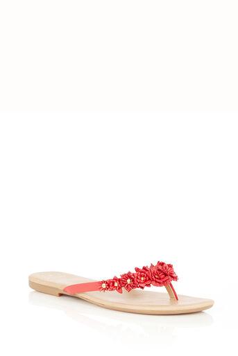 Oasis, Leather Flower Flip Flops Coral 0